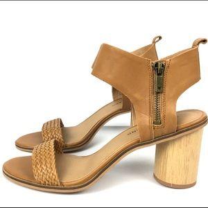 NEW Lucky Brand Tan Woven Shoes Block Heels Sz 8.5